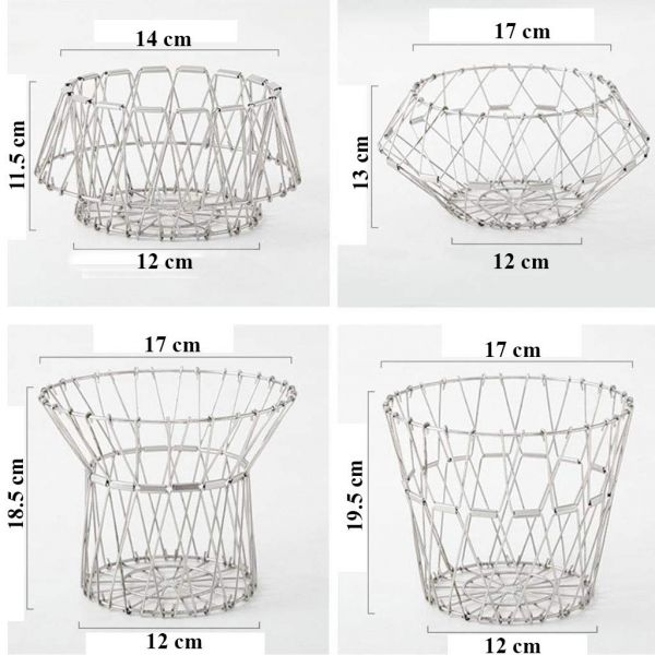 Plantex Multipurpose Stainless Steel Folding Fruit and Vegetable Basket for Kitchen/Dining Table/Home (8 Shapes)