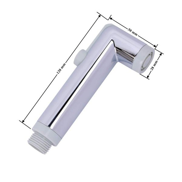 Plantex ABS Round Health Faucet Head with Push Button/Health Faucet for Bathroom (Chrome Finish/Pack-1)