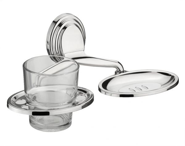 Plantex Platinum Stainless Steel 304 Grade Cubic 2in1 Soap Dish with Tumbler Holder/Soap Stand/Tooth Brush Holder/Bathroom Accessories(Chrome)