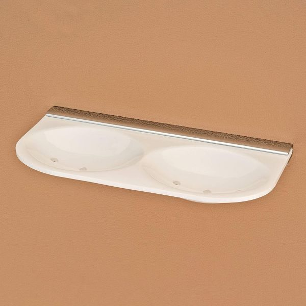 Plantex Crystal 5mm Acrylic Dual Soap Dish/Soap Holder/Soap Stands for Bathroom Wall (White)