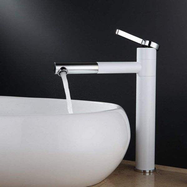 Plantex Brass Mixer Tap for Wash Basin/Hot and Cold Single Lever Mixer Tap with 360 Rotating Nozzle/Spout(Chrome-White)