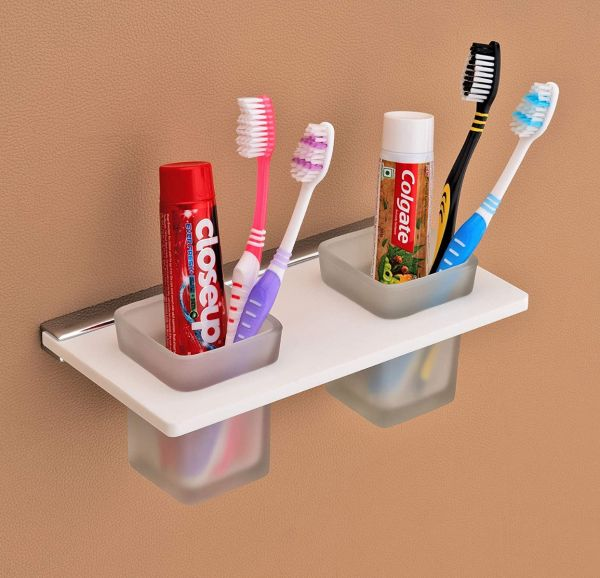 Plantex Opulux 8 mm Acrylic Tooth Brush Holder/Stand/Tumbler Holder for Bathroom/Bathroom Accessories for Home