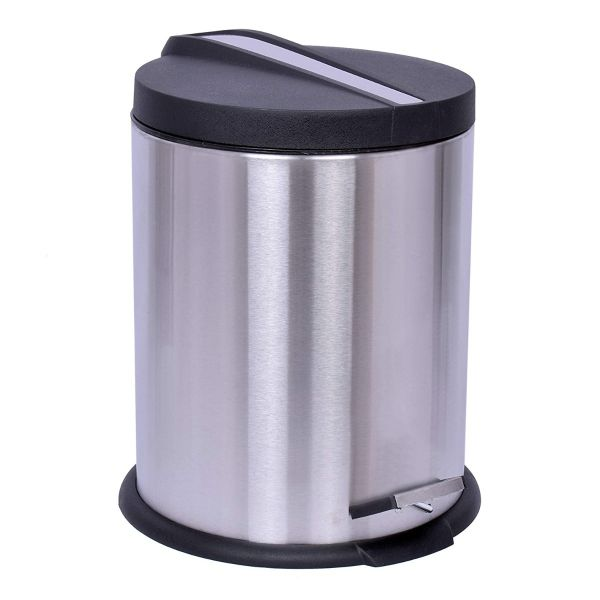 Plantex High Grade Stainless Steel Dustbin for Home/Dust Bin for Kitchen/Bathroom/Office(7x10 Inches-Silver)