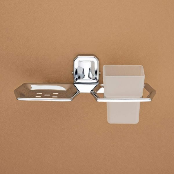 Plantex Cute Stainless Steel 304 Grade Cute 2in1 Soap Dish with Tumbler Holder/Soap Stand/Tooth Brush Holder/Bathroom Accessories (Chrome)