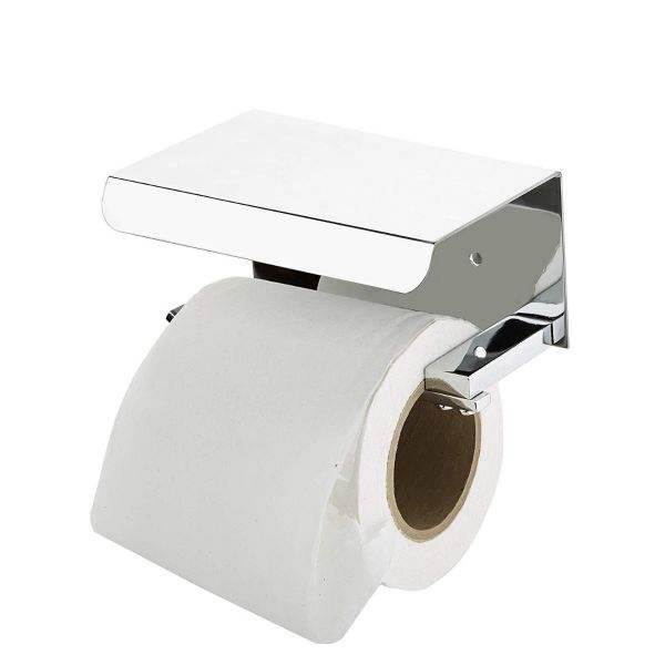 Plantex Platinum Stainless Steel 304 Grade Toilet Paper Holder with Mobile Phone Stand - Bathroom Accessories (Chrome Finish)