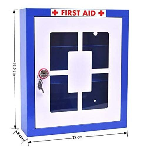 Plantex Emergency First Aid Kit Box/Emergency Medical Box/First Aid Box for Home - School - Office/Wall Mount/Multi Compartment (Blue)