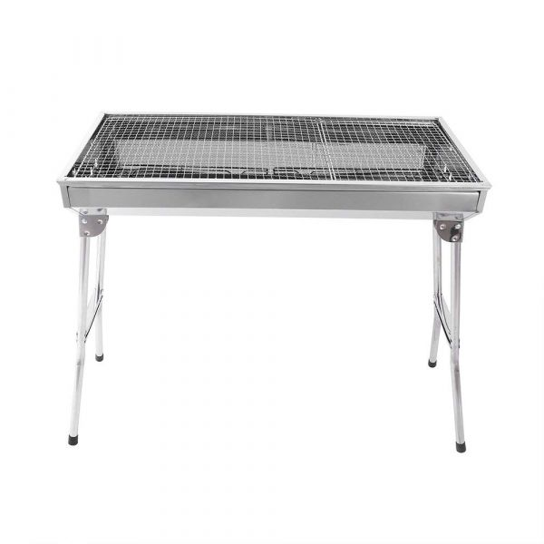 Plantex Portable Big Size Stainless Steel Barbecue Grill Charcoal/Outdoor Folding Toaster Barbecue Grill/Easy to Carry (Silver)