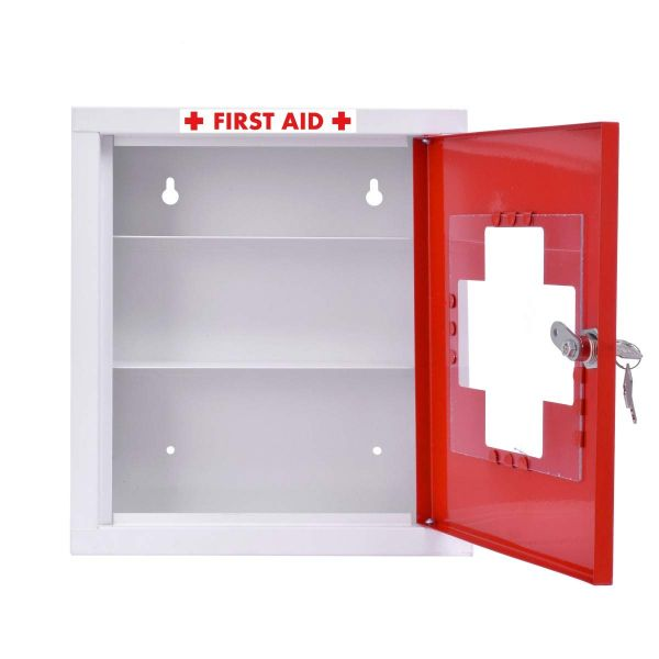 Plantex Emergency First Aid Kit Box/Emergency Medical Box/First Aid Box for Home - School - Office/Wall Mount/Multi Compartment (Red & Ivory)