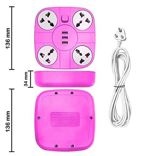 Plantex Power Strip with 4 Socket and 3 USB Ports Universal Spike Guard with Light/Extention Board