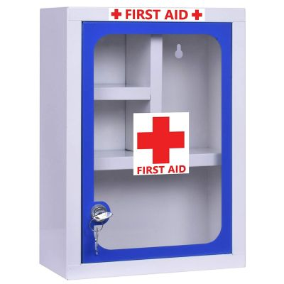 Plantex Platinum Big Size Emergency First Aid Kit Box/Emergency Medical Box/First Aid Box for Home-School-Office/Wall Mountable-Multi Compartments(Blue & White)