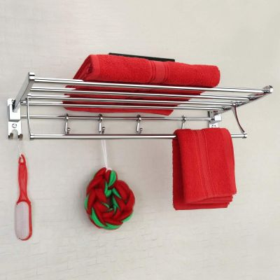 Plantex Eco Stainless Steel Folding Towel Rack/Towel Stand/Hanger Bathroom Accessories/Chrome Finish (24 Inches-Chrome)