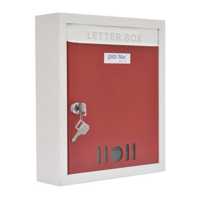 Plantex High Grade Big Size Letter Box for Home/Mail Box/Letter Box for gate and Wall with Key Lock (Red & Ivory)