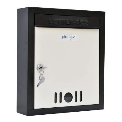 Plantex High Grade Metal Wall Mount A4 Letter Box - Mail Box/Outdoor Mailboxes Home Decoration with Key Lock (Black & Ivory)