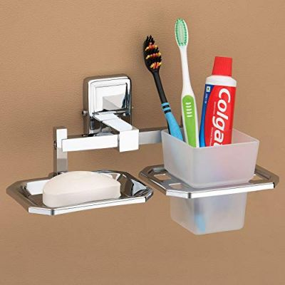 Plantex Darcy Stainless Steel 304 Grade Cute 2in1 Soap Dish with Tumbler Holder/Soap Stand/Tooth Brush Holder/Bathroom Accessories (Chrome)