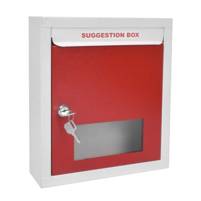 Plantex All in 1 Multipurpose Letter Box/Suggestion Box/Complaint Box/Donation Box with Lock Table Top or Wall Mount (Red & Ivory)