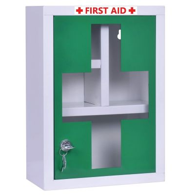 Plantex Platinum Big Size Emergency First Aid Kit Box/Emergency Medical Box/First Aid Box for Home-School-Office/Wall Mountable-Multi Compartments(Green & White)