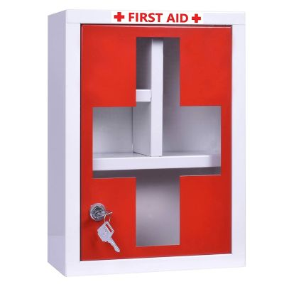 Plantex Platinum Big Size Emergency First Aid Kit Box/Emergency Medical Box/First Aid Box for Home-School-Office/Wall Mountable-Multi Compartments(Red & White)