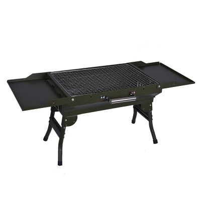 Plantex Portable Metal Wings Style Outdoor Folding Barbecue Grill Toaster Charcoal Barbeque (Green)