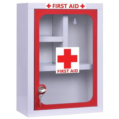 Plantex Platinum Big Size Emergency First Aid Kit Box/Emergency Medical Box/First Aid Box for Home-School-Office/Wall Mountable-Multi Compartments(XL - Red & White)
