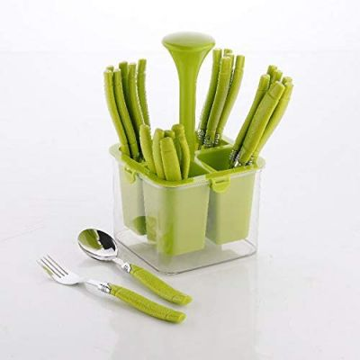 Plantex Oppo Cutlery Set with Storage Box/Spoon Set/Spoon Stand for Kitchen and Dining (24 Pieces - Green)