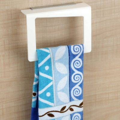 Plantex Acrylic Towel Holder Ring Bathroom Accessories for Home (Square, White, 8 Inch)
