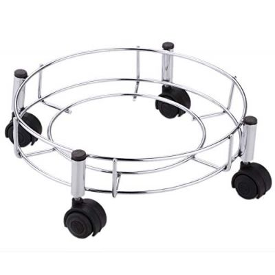 Plantex High Grade Stainless Steel Cylinder Trolley With Wheels - LPG Cylinder Trolley - Easy to Move - Wheel Trolley