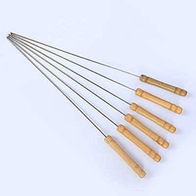 Plantex Barbecue Skewers Barbecue String with Wooden Handle BBQ Stick Needles Outdoor Camping Outings Cooking Tools - 10 Pcs