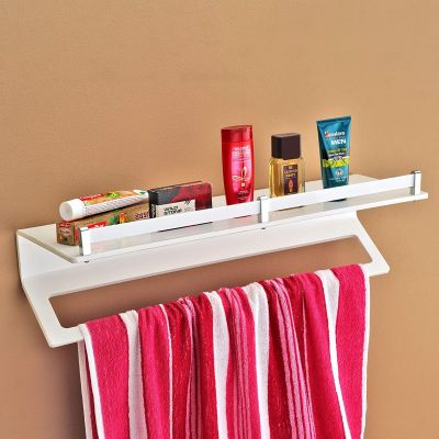 Plantex 8mm Acrylic 2in1 Towel Rack with Bathroom Shelf/Towel Hanger/Towel Rack for Bathroom/Bathroom Accessories(24 inch-White)
