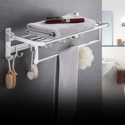 Plantex Space Aluminum Folding Towel Rack/Towel Stand/Hanger/Bathroom Accessories (24 Inches) - Silver