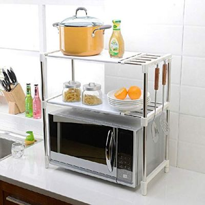 Plantex Stainless Steel Adjustable Microwave Stand for Kitchen/Oven Stand Kitchen Storage Rack
