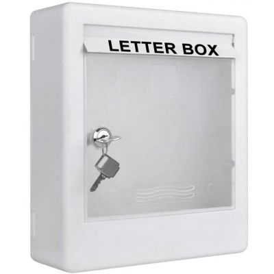 Plantex Virgin Plastic Wall Mount A4 Letter Box - Mail Box/Outdoor Mailboxes Home Decoration with Key Lock (White)