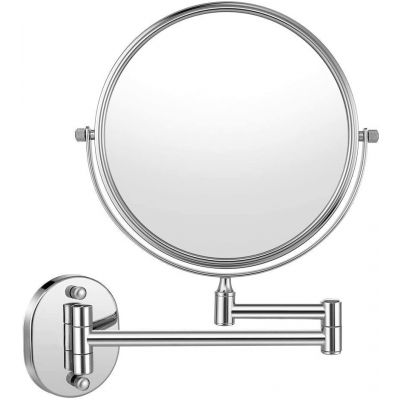 Plantex Stainless Steel Body Two-Sided 360° Swivel Mirror Wall Mounted with 10x Magnification, Chrome Finished (8 inches 10x)