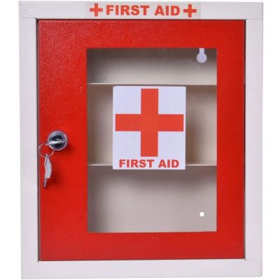 Plantex Emergency First Aid Kit Box for Home - School - Office/Wall Mount/Multi Compartment (Red and Ivory), Rectangular