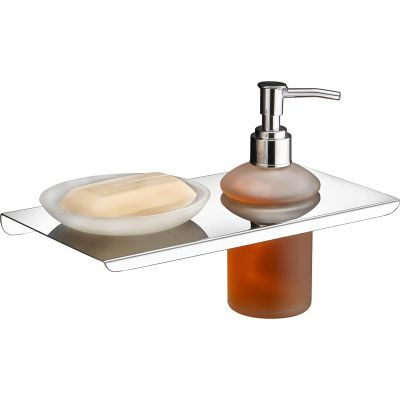 Plantex Stainless Steel and Glass Soap Dish Stand with Soap Dispenser for Bathroom & Kitchen/Soap Dish/Bathroom Accessories (Chrome)
