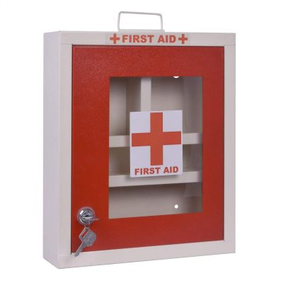 Plantex Emergency First Aid Kit Box/Emergency Medical Box/First Aid Box for Home - School - Office/Wall Mountable, Multi Compartment (Metal)