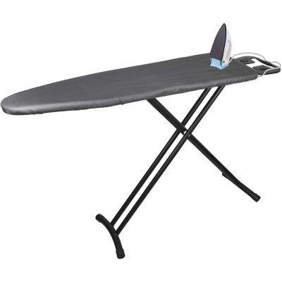 Plantex Extra Wide Heat Proof Adjustable Height Ironing Stand/Folding Ironing Board with Steam Iron Rest - Black