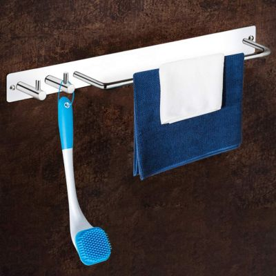 Plantex Stainless Steel Towel Stand/Towel Rod with Hook for Bathroom/Hanger/Bathroom Accessories (Chrome)