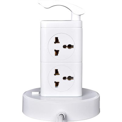 Plantex Power Socket with 8 Socket and 3 USB Ports Universal Spike Guard - White