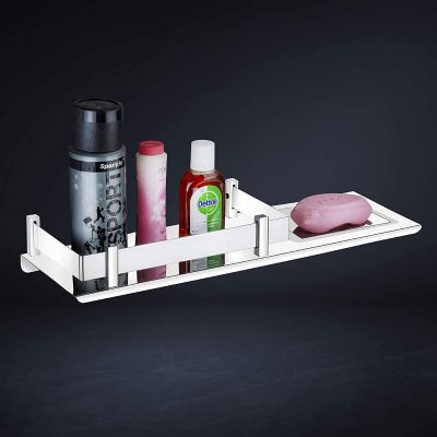 Plantex Stainless Steel 2in1 Multipurpose Bathroom Rack/Shelf with Soap Dish/Holder - Multipurpose - Bathroom Accessories (15x5 Inches)