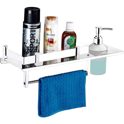 Plantex Stainless Steel 3in1 Multipurpose Bathroom Rack/Shelf with soap Dish, Towel Rack and Tumbler Holder - Bathroom Accessories (15x6 Inches)