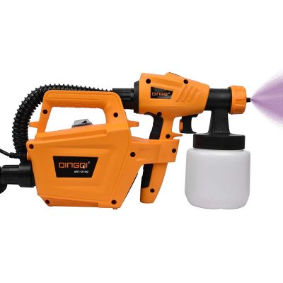 DINGQI Steel, Copper, Plastic, Rubber 800W Mini Electric HVLP Airbrush Sanitize/Spray Paint/Water Sprayer Gun (Yellow and Black)