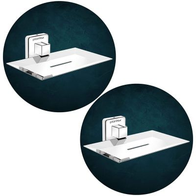 Plantex Stainless Steel Pro Soap Dish Stand for Bathroom & Kitchen/Soap Dish/Bathroom Accessories - (Chrome) - Pack of 2