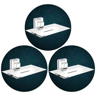 Plantex Stainless Steel Pro Soap Dish Stand for Bathroom & Kitchen/Soap Dish/Bathroom Accessories - (Chrome) - Pack of 3