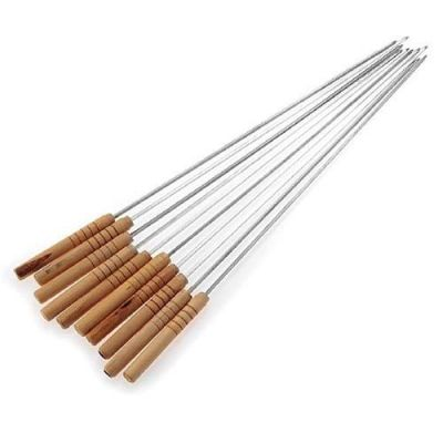 Plantex Barbecue Skewers 12 PCS Barbecue String with Wooden Handle BBQ Stick Needles Outdoor Camping Outings Cooking Tools