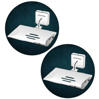 Plantex Nexa Stainless Steel Pro Soap Dish Stand for Bathroom & Kitchen/Soap Dish/Bathroom Accessories - (Chrome) - Pack of 2