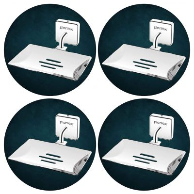 Plantex Nexa Stainless Steel Pro Soap Dish Stand for Bathroom & Kitchen/Soap Dish/Bathroom Accessories - (Chrome) - Pack of 4