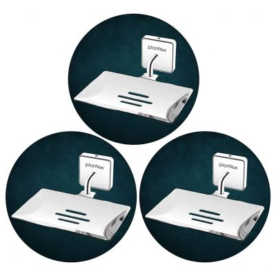 Plantex Nexa Stainless Steel Pro Soap Dish Stand for Bathroom & Kitchen/Soap Dish/Bathroom Accessories - (Chrome) - Pack of 3