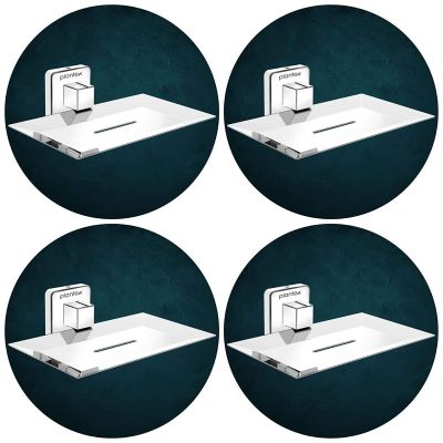 Plantex Stainless Steel Pro Soap Dish Stand for Bathroom & Kitchen/Soap Dish/Bathroom Accessories - (Chrome) - Pack of 4