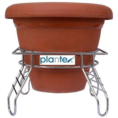Plantex Heavy Stainless Steel Plant Pot Stand - Planter Stand - Matka Stand Chrome Plated