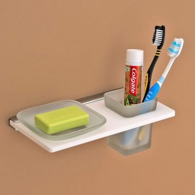 Plantex Opulux 8mm Acrylic and Glass 2in1 Soap Dish with Tumbler Holder/Soap Stand/Tooth Brush Holder/Bathroom Accessories